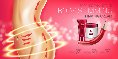 Body skin care series ads. Vector Illustration with chili pepper body slimming firming cream tube and container. Horizontal banner. Vectores
