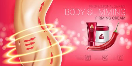 Publicités de la série Body Care Care. Illustration vectorielle avec un corps de poivre de chili amincissant le tube et le récipient de crème raffermissants. Bannière horizontale.