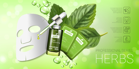 busting: Herbal skin care mask ads. Vector Illustration with herbal smoothing mask and serum.
