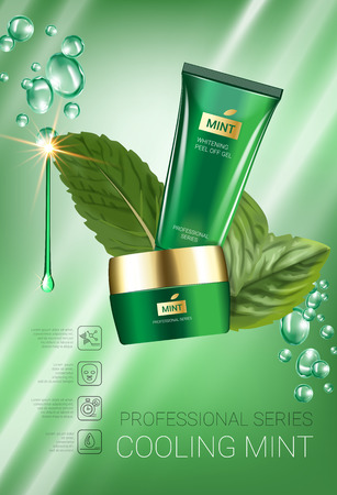 Cooling mint skin care series ads. Vector Illustration with mint leaves, smoothing cream tube and container. Vertical poster. Illustration