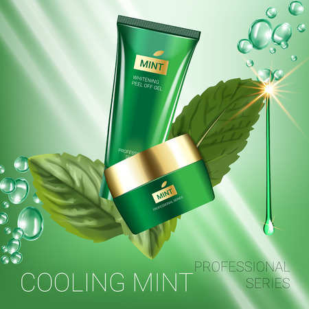 Cooling mint skin care series ads. Vector Illustration with mint leaves, smoothing cream tube and container. Poster.