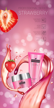 busting: Honey skin care series ads. Vector Illustration with honey smoothing cream tube and container. Vertical banner.