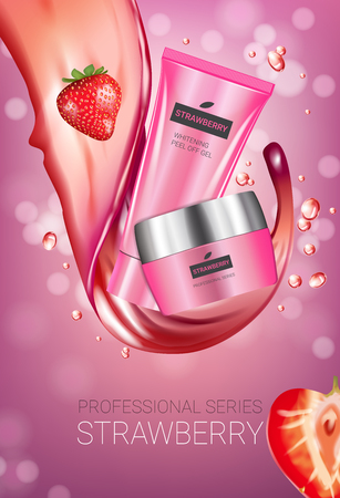 Strawberry skin care series ads. Vector Illustration with strawberry smoothing cream tube and container. Vertical poster.