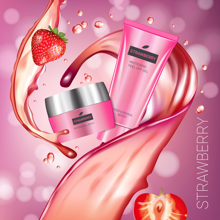 Honey skin care series ads. Vector Illustration with honey smoothing cream tube and container. Poster.  イラスト・ベクター素材