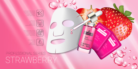 Strawberry skin care mask ads. Vector Illustration with strawberry smoothing mask and serum. Horizontal banner.  イラスト・ベクター素材