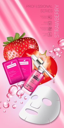 Strawberry skin care mask ads. Vector Illustration with strawberry smoothing mask and serum. Vertical banner.