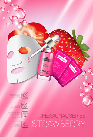 Strawberry skin care mask ads. Vector Illustration with strawberry smoothing mask and serum. Vertical poster.