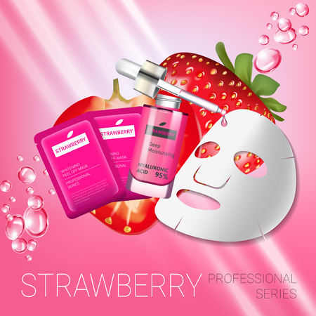 busting: Strawberry skin care mask ads. Vector Illustration with strawberry smoothing mask and serum. Poster.