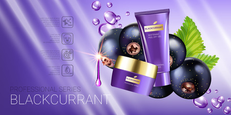 Black currant skin care series ads. Vector Illustration with blackcurrant, smoothing cream tube and container