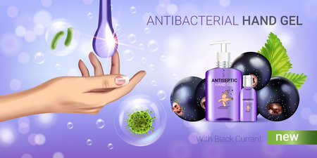 Black currant flavor antibacterial hand gel ads. Vector Illustration with antiseptic hand gel in bottles and blackcurrant elements.