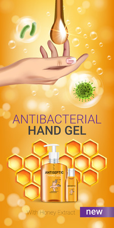 Honey flavor Antibacterial hand gel ads. Vector Illustration with antiseptic hand gel in bottles and honey elements.