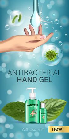 Sapore di menta fresca Annunci di gel antibatterico. Illustrazione vettoriale con gel antisettico a mano in bottiglie e foglie di menta elementi. Vettoriali