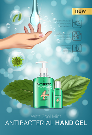 Cool mint flavor Antibacterial hand gel ads. Vector Illustration with antiseptic hand gel in bottles and mint leaves elements.