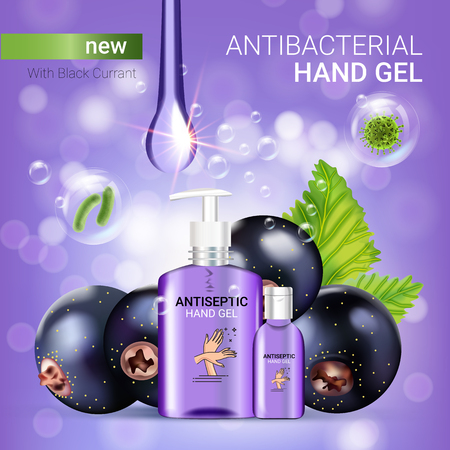 Black currant flavor antibacterial hand gel ads. Vector Illustration with antiseptic hand gel in bottles and blackcurrant elements. Poster.