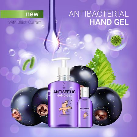 Propagande antibactérienne aux pépites de groseilles noires. Illustration vectorielle avec gel antiseptique à main dans des bouteilles et des éléments de cassis. Affiche.