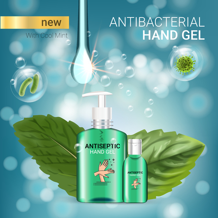 Cool mint flavor Antibacterial hand gel ads. Vector Illustration with antiseptic hand gel in bottles and mint leaves elements. Poster. Stock Illustratie
