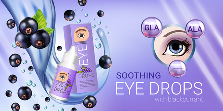 Black currant eye drops ads. Vector Illustration with collyrium in bottle and blackcurrant elements. Horizontal banner. Illustration