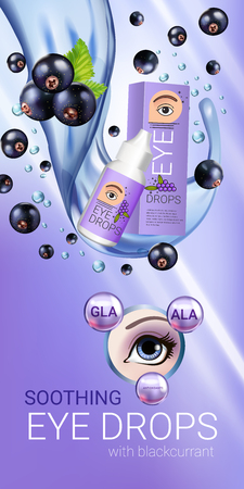 Black currant eye drops ads. Vector Illustration with collyrium in bottle and blackcurrant elements. Vertical banner. Illustration