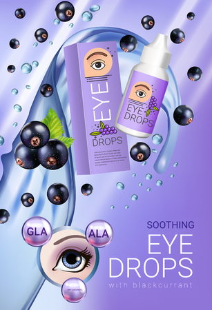 Black currant eye drops ads. Vector Illustration with collyrium in bottle and blackcurrant elements. Vertical poster.