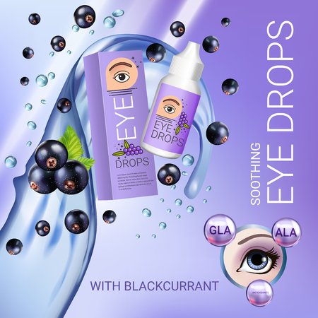 Black currant eye drops ads. Vector Illustration with collyrium in bottle and blackcurrant elements. Poster. Illustration
