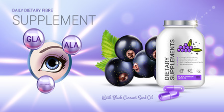 Black currant dietary supplement ads. Vector Illustration with eye supplement contained in bottle and blackcurrant elements. Horizontal banner.