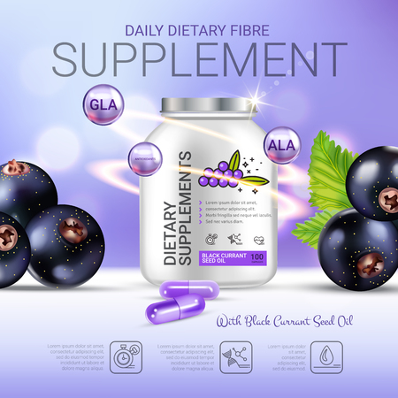 Black currant dietary supplement ads. Vector Illustration with eye supplement contained in bottle and blackcurrant elements. Poster.