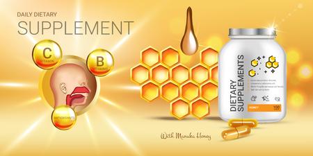 Anuncios de suplemento dietético de miel de Manuka. Ilustración vectorial con miel suplemento contenido en botella y elementos de miel. Bandera horizontal.