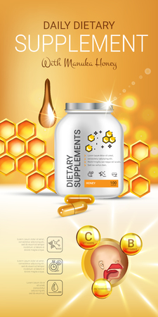 Manuka Honey dietary supplement ads. Vector Illustration with honey supplement contained in bottle and honey elements. Vertical banner.
