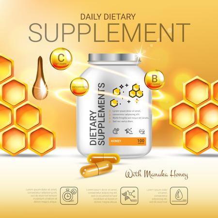 マヌカ蜂蜜の栄養補助食品の広告。ベクトル イラスト ボトルと蜂蜜の要素に含まれる蜂蜜の補足。ポスター。  イラスト・ベクター素材