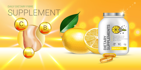 Lemon balm dietary supplement ads. Vector Illustration with Lemon supplement contained in bottle and lemon elements. Horizontal banner. Ilustração
