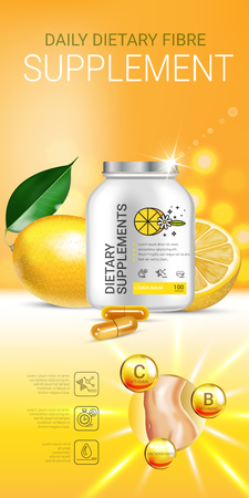 Lemon balm dietary supplement ads. Vector Illustration with Lemon supplement contained in bottle and lemon elements. Vertical banner.