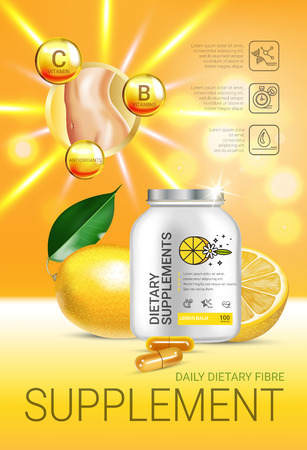 Lemon balm dietary supplement ads. Vector Illustration with Lemon supplement contained in bottle and lemon elements. Vertical poster. Illustration