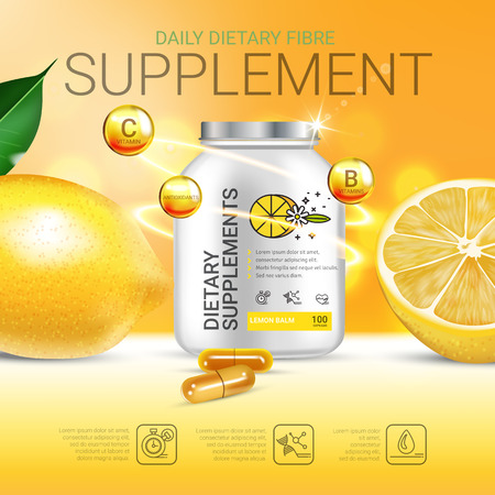 Lemon balm dietary supplement ads. Vector Illustration with Lemon supplement contained in bottle and lemon elements. Poster. Imagens - 79130674
