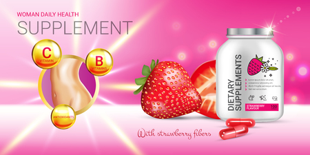 Strawberry dietary supplement ads. Vector Illustration with supplement contained in bottle and strawberry elements. Horizontal banner. Ilustração