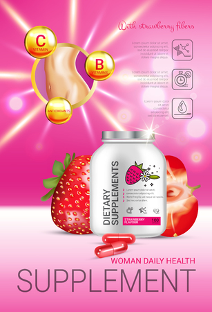 Strawberry dietary supplement ads. Vector Illustration with supplement contained in bottle and strawberry elements. Vertical poster.