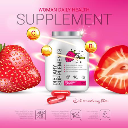 Aardbeien voedingssupplement advertenties. Vectorillustratie met supplement in flesjes en aardbeienelementen. Poster. Stock Illustratie