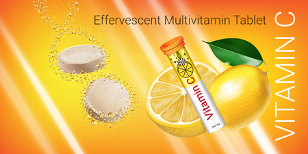 Effervescent Multivitamin tablets ads. Vector Illustration with Vitamin C container and lemon. Horizontal banner.