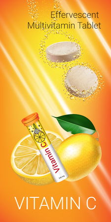 Effervescent Multivitamin tablets ads. Vector Illustration with Vitamin C container and lemon. Vertical banner. Ilustração