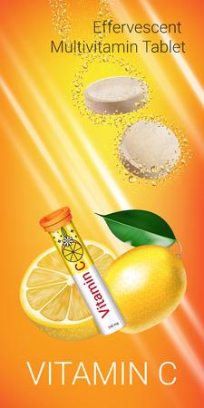 Effervescent Multivitamin tablets ads. Vector Illustration with Vitamin C container and lemon. Vertical banner. Banco de Imagens - 79076938