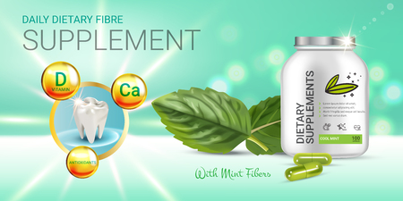 Cool mint dietary supplement ads. Vector Illustration with honey supplement contained in bottle and mint leaves elements. Horizontal banner. Ilustração