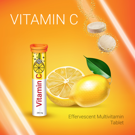 Effervescent Multivitamin tablets ads. Vector Illustration with Vitamin C container and lemon. Poster.