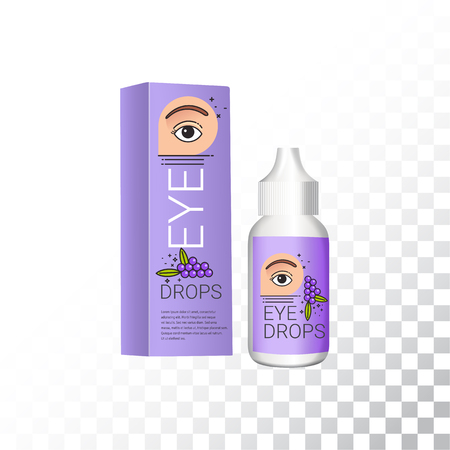 Eye drops realistic package and container. Plastic container with soothing eye drops. Vector mockup of isolated objects on white background