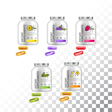Set of Template dietary nutrition containers. Plastic Jars and capsules pills. Vector Illustration isolated objects Illustration