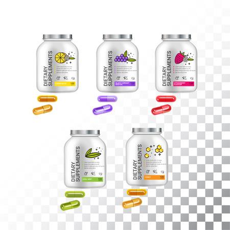 Zestaw szablonów żywienia pojemników. Plastikowe pigułki i kapsułki. Ilustracja wektorowa na białym tle obiektów