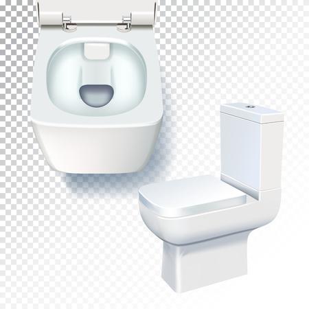 White toilet mockup. Realistic vector illustration of toilet bowl on transparent background Illustration