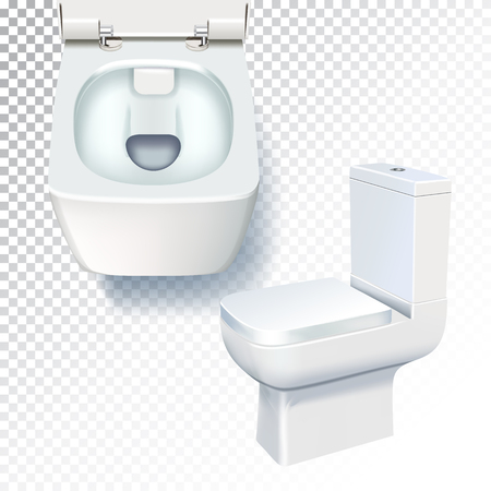 White toilet mockup. Realistic vector illustration of toilet bowl on transparent background Ilustracja