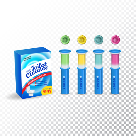 Set of Template Toilet Cleaning Gel. Plastic multicolor dispensers, box and gel discs. Vector Illustration isolated objects Illustration