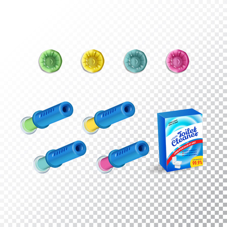 Set of Template Toilet Cleaning Gel. Plastic multicolor dispensers, box and gel discs. Vector Illustration isolated objects Ilustração
