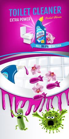 Orchid fragrance toilet cleaner ads. Cleaner bobs kill germs inside toilet bowl. Vector realistic illustration. Illustration