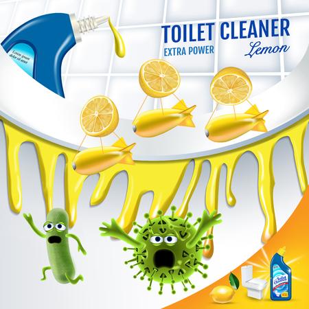 Citrus fragrance toilet cleaner ads. Cleaner bobs kill germs inside toilet bowl. Vector realistic illustration.